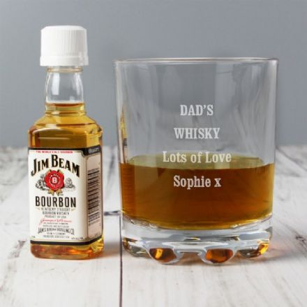 Personalised Tumbler Glass & Miniature Jim Beam Whisky Set
